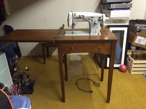 Antique sewing machine and chair