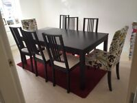 Ikea Dining Table (Bjursta) and 8 chairs (6x Borje, 2x Henriksdal)