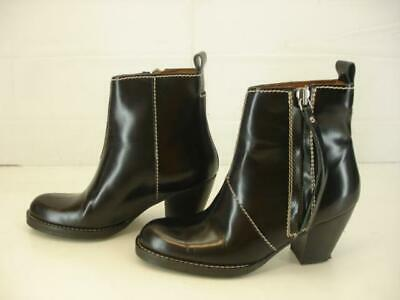 Womens 7 sz 37 Acne Studios Black Leather Pistol Boots Ankle Side Zipper Western