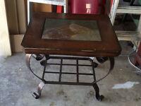 Tables salon ardoise-bois-métal