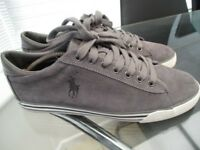 mens suede harvey polo ralph lauren casual shoes size 9 grey