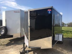 6x12 Enclosed V nose Ramp Trailer