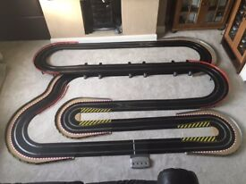 Scalextric Digital Layout with 2 Lane Changers / Double Hairpin / Long Bridge & 4 Cars