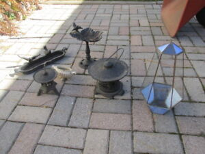 Group of Solid Cast Metal Garden or Patio Ornaments
