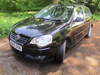 Volkswagen Polo 1.2 Match 60 5dr 2009 low mileage black petrol manual FSH 12 mths MOT, low insurance