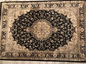 VERY RARE PERSIAN GOLD AND BLACK SILK ON SILK CARPET! Amazing