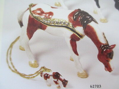 SUGAR ~ THE AMERICAN PAINT HORSE  ~  ENAMELED JEWEL BOX & NECKLACE #62703
