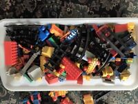 Large Box of Assorted Toy Large Bricks, Track, Trains, carriages,animals & people