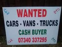 wanted cars vans trucks 4x4 mpvs caravans campers motorcycles quads diggers dumpers forklifts scrap