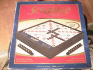 Scrabble Deluxe Classic Edition Rotating gameboard Wood tiles