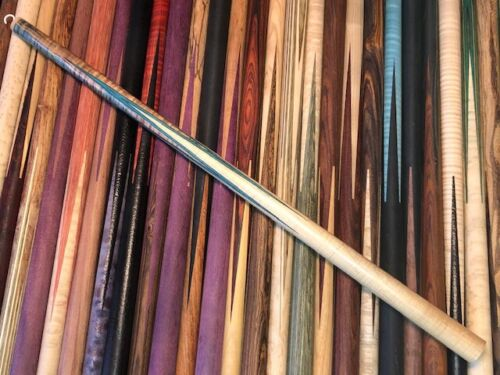 Brent Summers OS Full Splice Pool Cue Blank. Curly Maple / Stabilized Dyed Maple