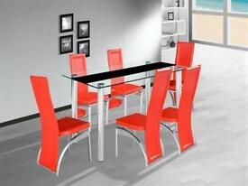 Brand New Modern Quality Madison Glass Dining Table Set with 4 chairs Delivery Avble All over London