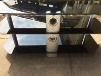 Three tier smoked glass tv stand
