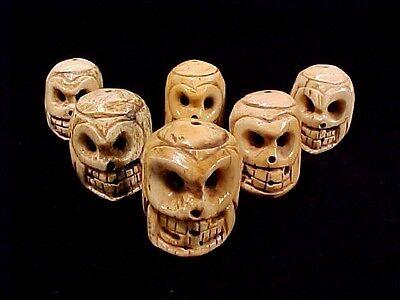 Big Boned Skeleton (Big Carved Bone Skull Lot of Six Goth Heads Day of Dead Skeleton 1 1/2