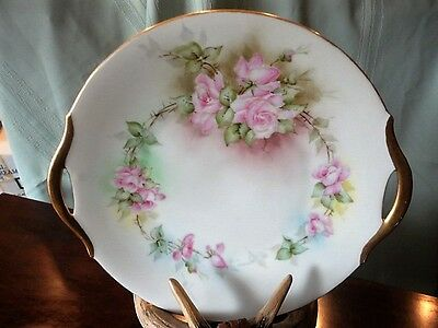 Signed Porcelain Cake Plate Floral Hand Painted 8-1/4 in Vintage