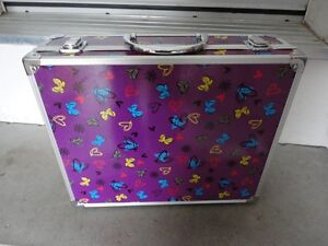 Purple butterfly printed storage suitcase container box decor London Ontario image 3