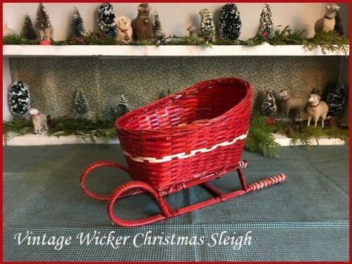 "Vintage Christmas SLEIGH Red Wicker 11 1/2"" Centerpiece Decoration"