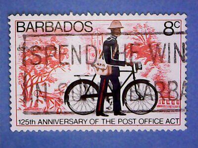 Barbados. QE2 1976 8c 125th Anniv of Post Office Act. SG565. Wmk Ww14. Used.