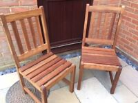 One Pair of Hard- Wood Garden Chairs, Excellent Condition.