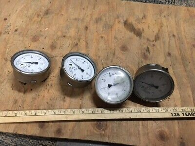4 Vintage Pressure Gauge Steampunk Lamp Parts Lot Stainless Railroad 4 14