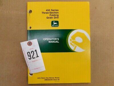 John Deere 450 Series 3 Section Folding Grain Drill Operators Manual Tag 921