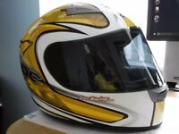 KBC Motorcycle helmet in Yellow, White & Black.
