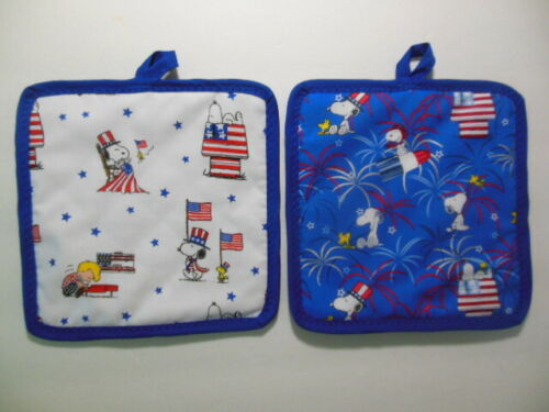 """PEANUTS  & SNOOPY Patriotic FOURTH of JULY Potholders, 8""""x8"""", handcrafted"""