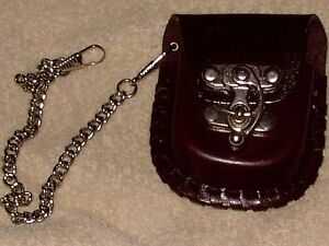Pocket watch pouch - leather - for belt - metal latch Cambridge Kitchener Area image 1