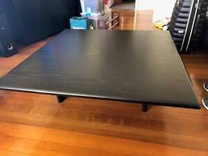 Solid Black dining table 6 chairs. Solid Black coffee table
