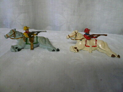 Two (2) Vintage Lead Toy Figures Horse Cowboy with Rifle Johill England Vintage Lead Toys
