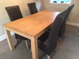 Oak Dining Table and 4 leather chairs
