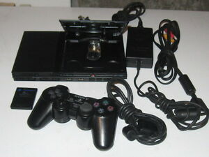 PS2 SLIM BLACK System with Memory card, controller and 18 games