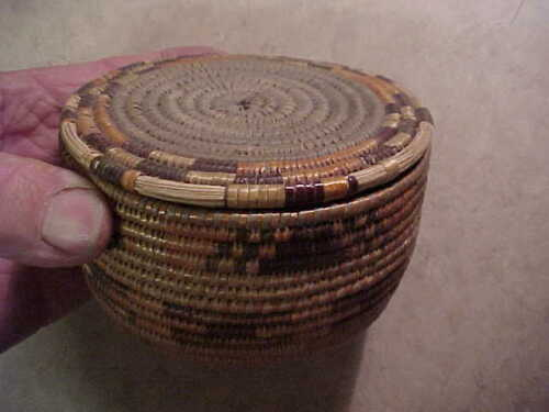 From New Mexico estate-old hand woven lidded basket-Native American? Well made!