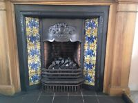 Wooden fire surround, tiled insert & fake coal fire
