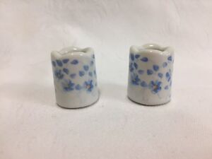 Vintage ~ Pair Funny Designs Blue Flower Pattern Mini Candle Holders ~ W Germany