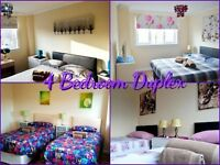 4 DOUBLE/TWIN BEDROOM DUPLEX- 2 SHOWER ROOMS - WEEKLY - MONTHLY RENTALS -WI FI - UP TO 10 SLEEPS