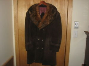 Vintage Men's Genuine Suede Leather Coat Fur Collar
