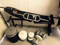 Weights Bench , Barbell, Dumbells, Weight plates total of 114kg good condition for sale