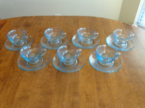 FOSTORIA FAIRFAX BLUE CUP AND SAUCER SETS LOT OF 7