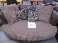 *NEW CONDITION 2 SEATER CUDDLER AND MATCHING FITTING FOOTSTOOL IN BROWN LEATHER & CORD COORDINATION*