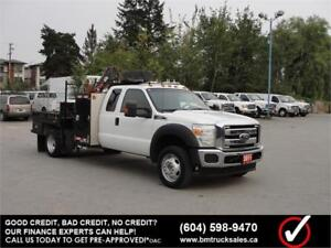 2011 FORD F-550 SUPER DUTY XL EXT CAB 4X4 FLAT DECK w/ CRANE