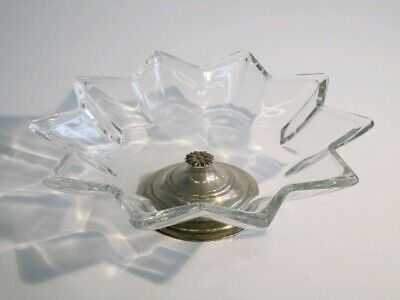 Vintage Lifting up Holder Fruit Trash Can Crystal and Silver 800 Period Xx Sec