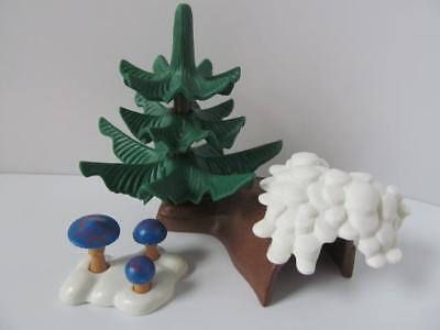 Playmobil Pine tree & toadstools with snowy base NEW farm/forest scenery