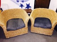 2 wicker tub chairs for sale