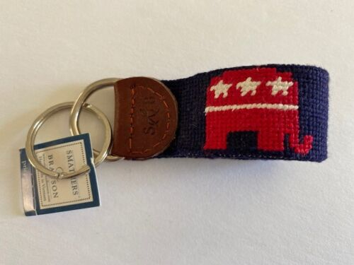 Smathers & Branson Republican Needlepoint and Leather Keyfob - New with tags