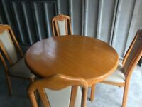 Brown Wooden Dining Table With 4 Wooden/cream Chairs