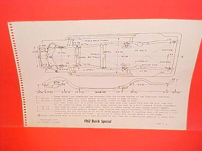 1962 BUICK SPECIAL DELUXE SKYLARK CONVERTIBLE COUPE SEDAN FRAME DIMENSION -