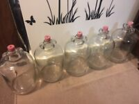 5x large 5L glass demijohns with stoppers for home brew brewing