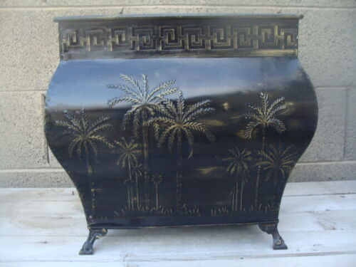 Three Hands Corp 4Footed Hammered Metal Planter CachePot Embossed Palm Trees
