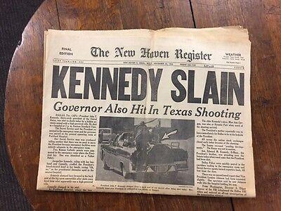 New Haven Register Newspaper Kennedy Slain Nov  22  1963 Complete Original P 11